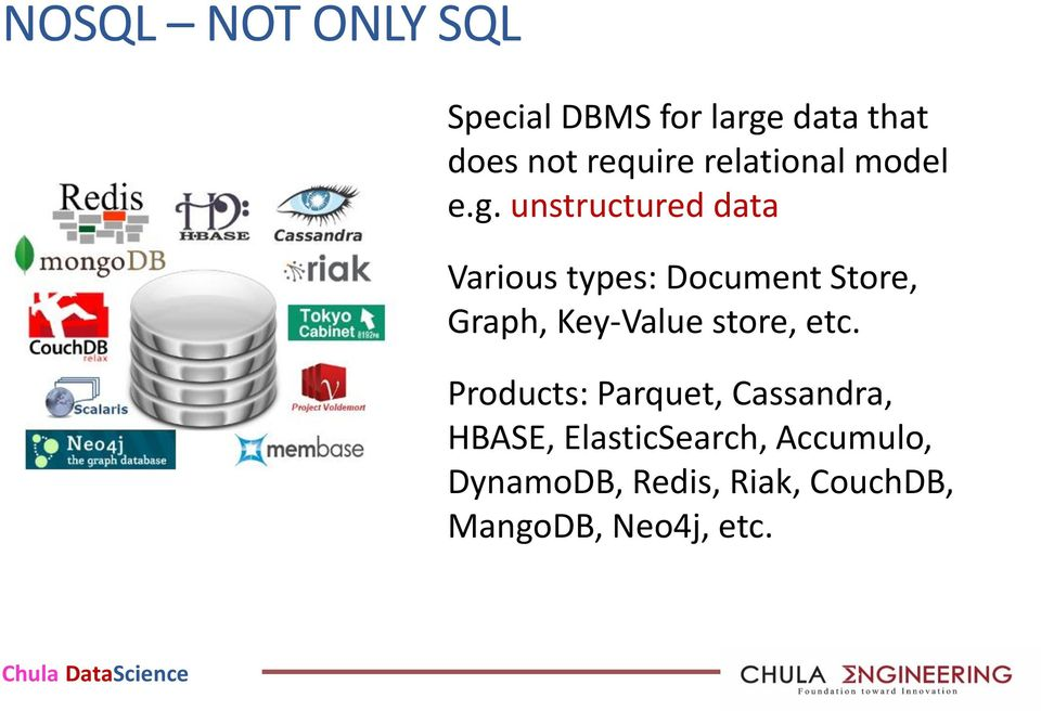 unstructured data Various types: Document Store, Graph, Key-Value