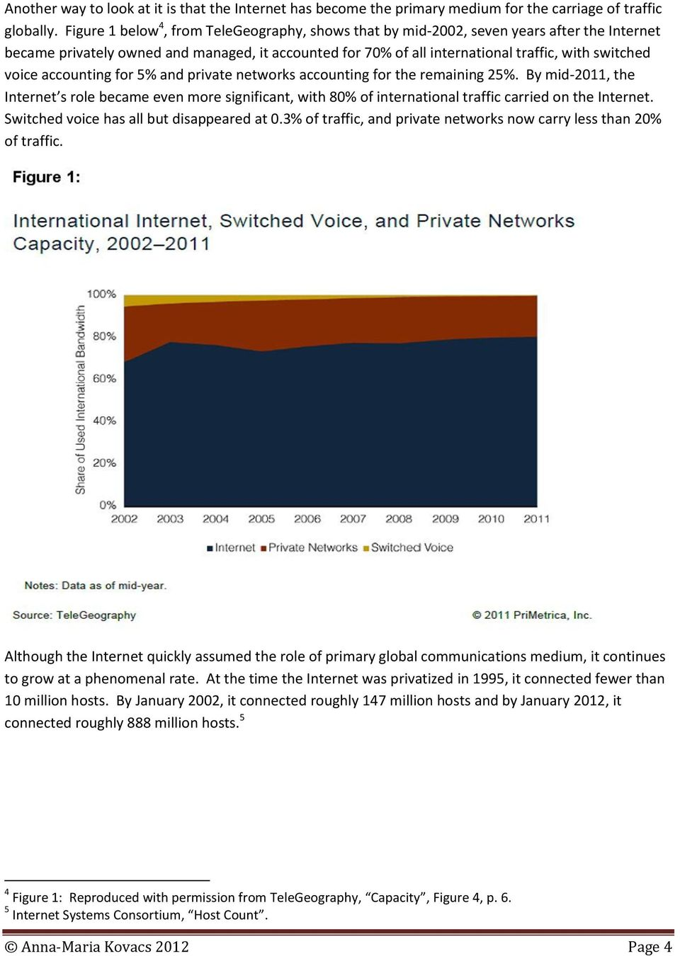 accounting for 5% and private networks accounting for the remaining 25%. By mid-2011, the Internet s role became even more significant, with 80% of international traffic carried on the Internet.