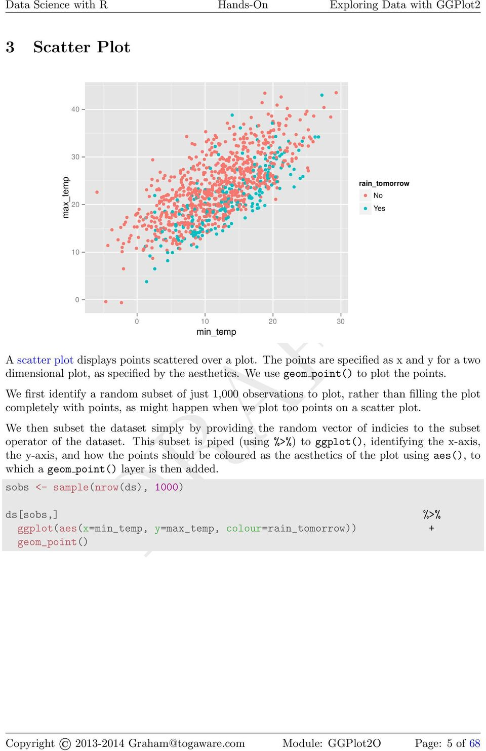 We first identify a random subset of just 1, observations to plot, rather than filling the plot completely with points, as might happen when we plot too points on a scatter plot.