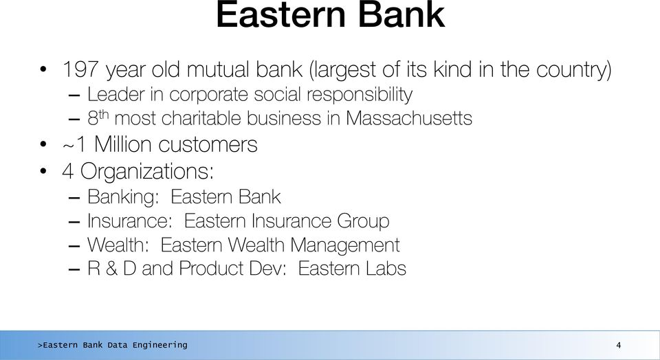 social responsibility 8 th most charitable business in Massachusetts ~1 Million