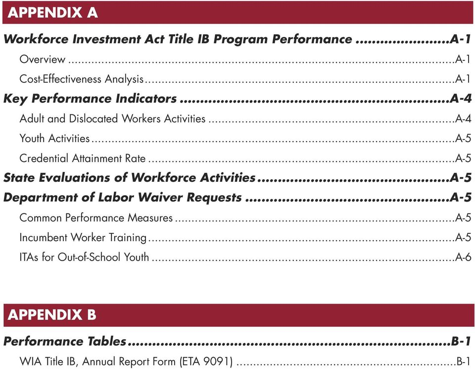 ..A-5 State Evaluations of Workforce Activities...A-5 Department of Labor Waiver Requests...A-5 Common Performance Measures.