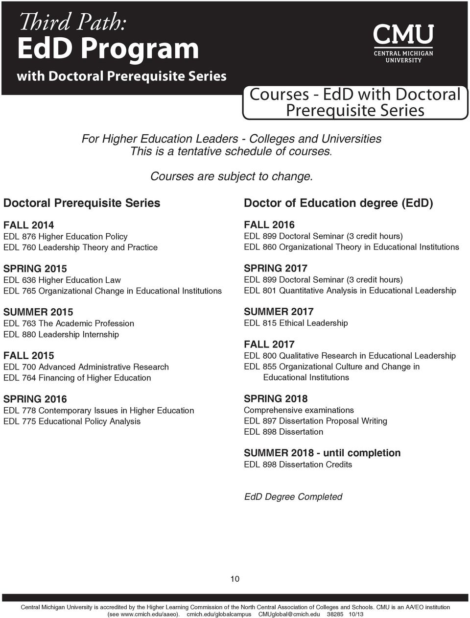 Doctoral Prerequisite Series FALL 2014 EDL 876 Higher Education Policy EDL 760 Leadership Theory and Practice SPRING 2015 EDL 636 Higher Education Law EDL 765 Organizational Change in Educational