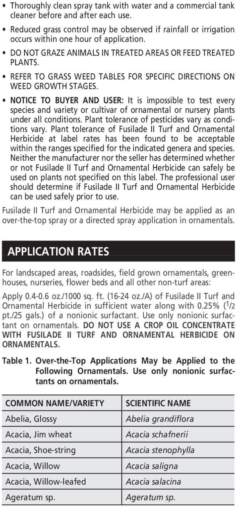 NOTICE TO BUYER AND USER: It is impossible to test every species and variety or cultivar of ornamental or nursery plants under all conditions. Plant tolerance of pesticides vary as conditions vary.