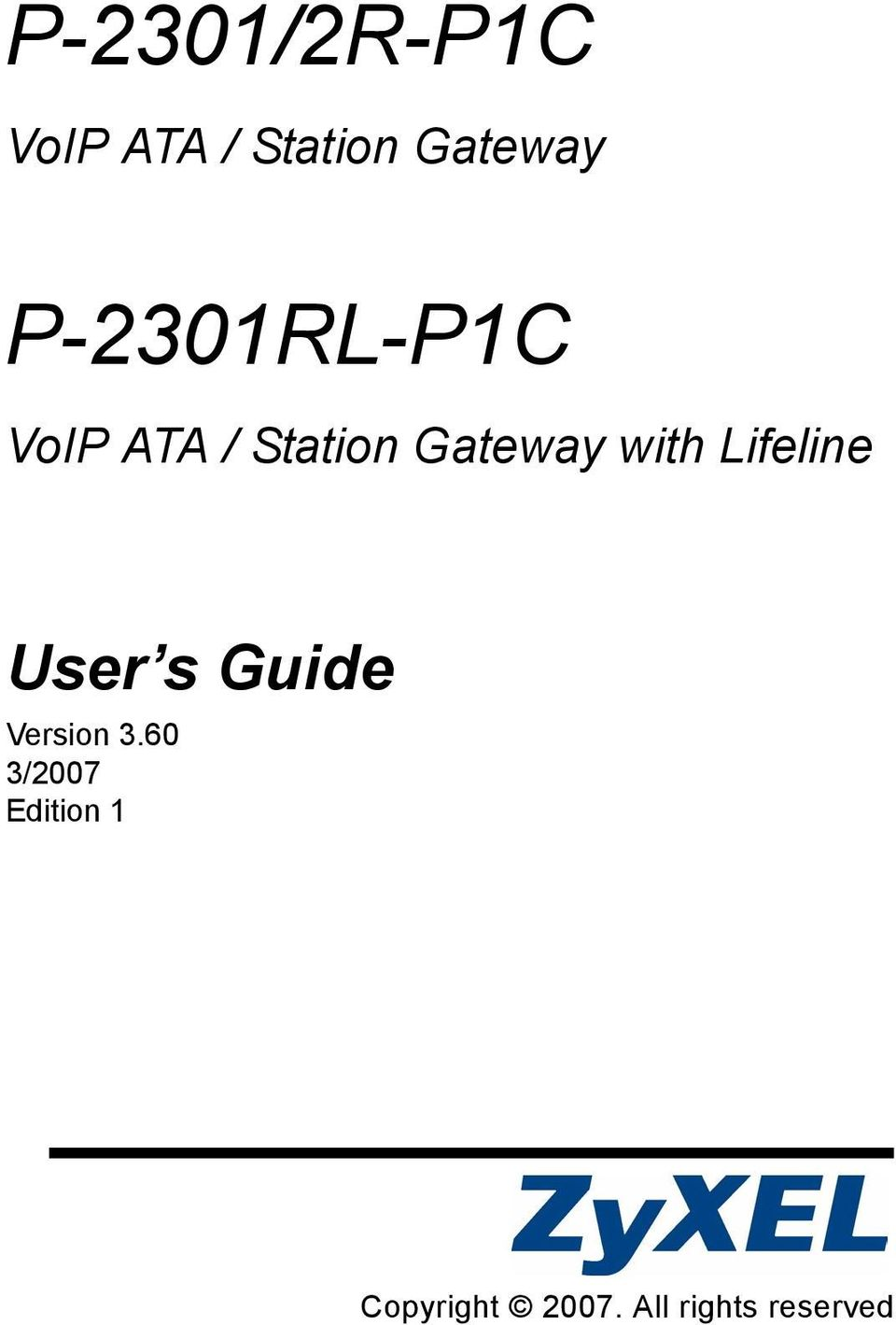 with Lifeline User s Guide Version 3.