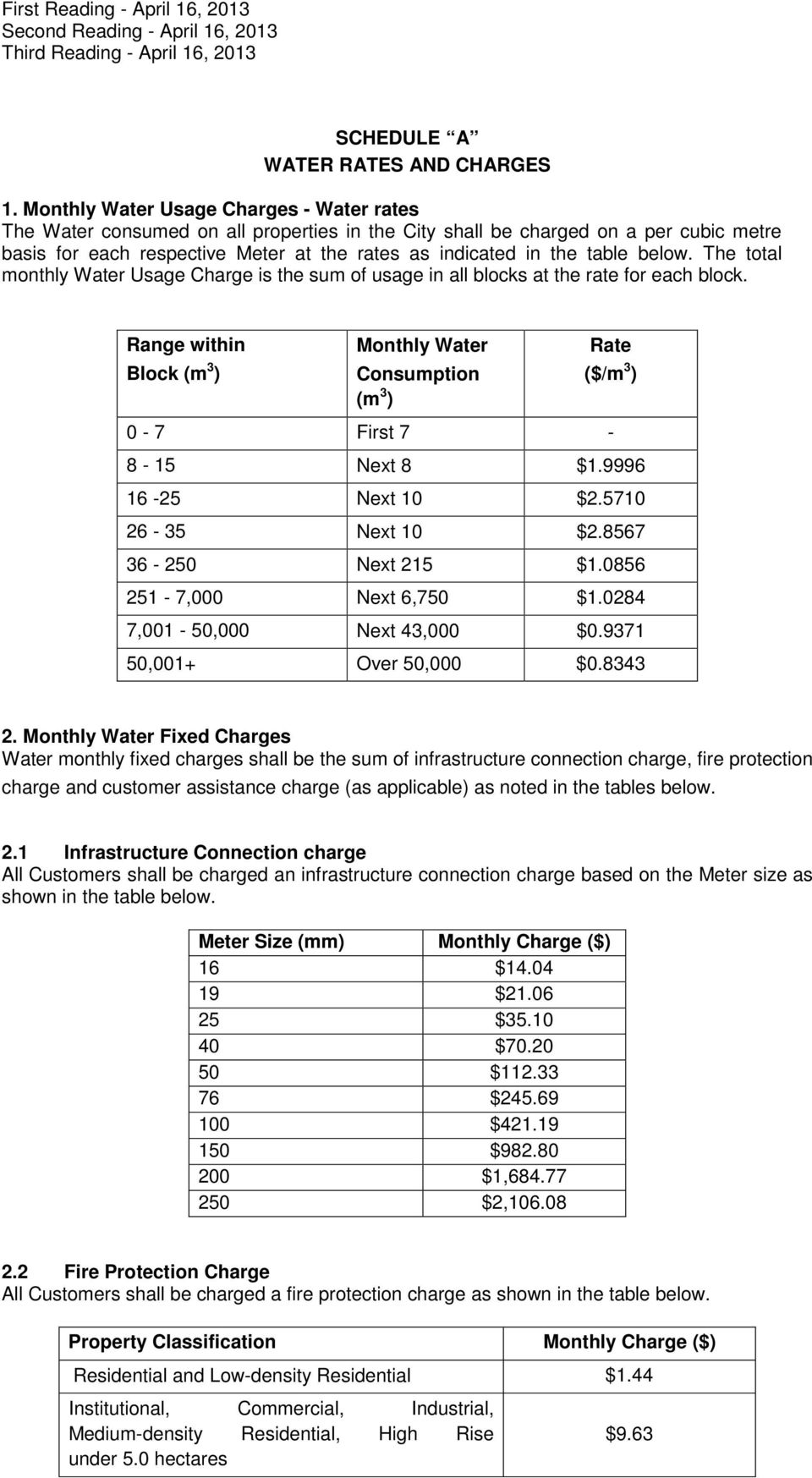 below. The total monthly Water Usage Charge is the sum of usage in all blocks at the rate for each block.