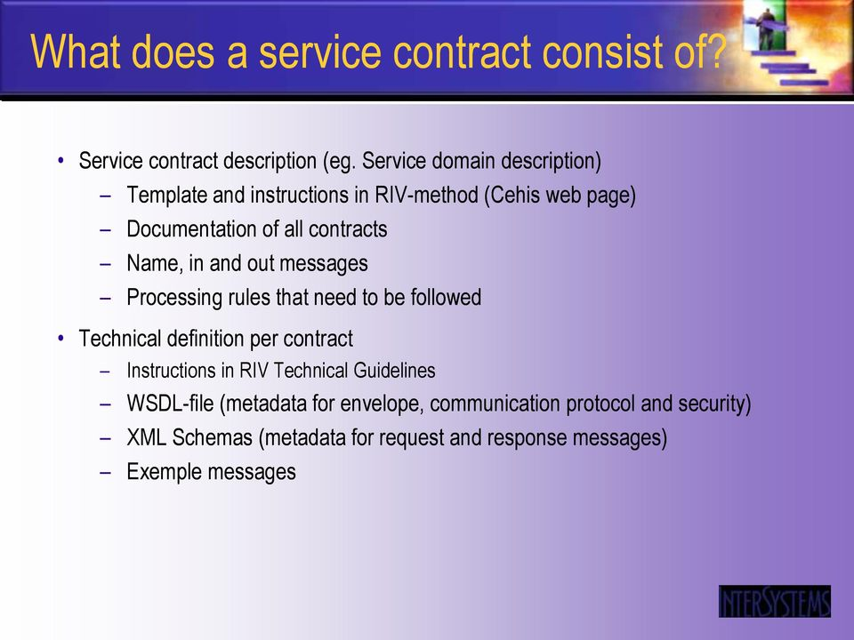 Name, in and out messages Processing rules that need to be followed Technical definition per contract Instructions in