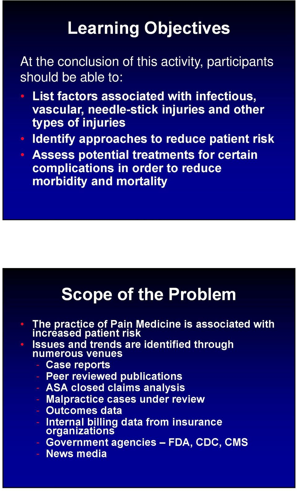Problem The practice of Pain Medicine is associated with increased patient risk Issues and trends are identified through numerous venues - Case reports - Peer reviewed