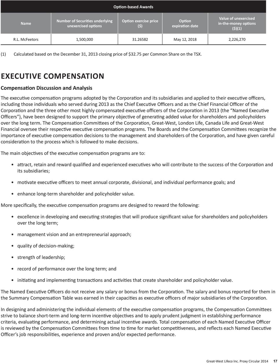 EXECUTIVE COMPENSATION Compensation Discussion and Analysis The executive compensation programs adopted by the Corporation and its subsidiaries and applied to their executive officers, including