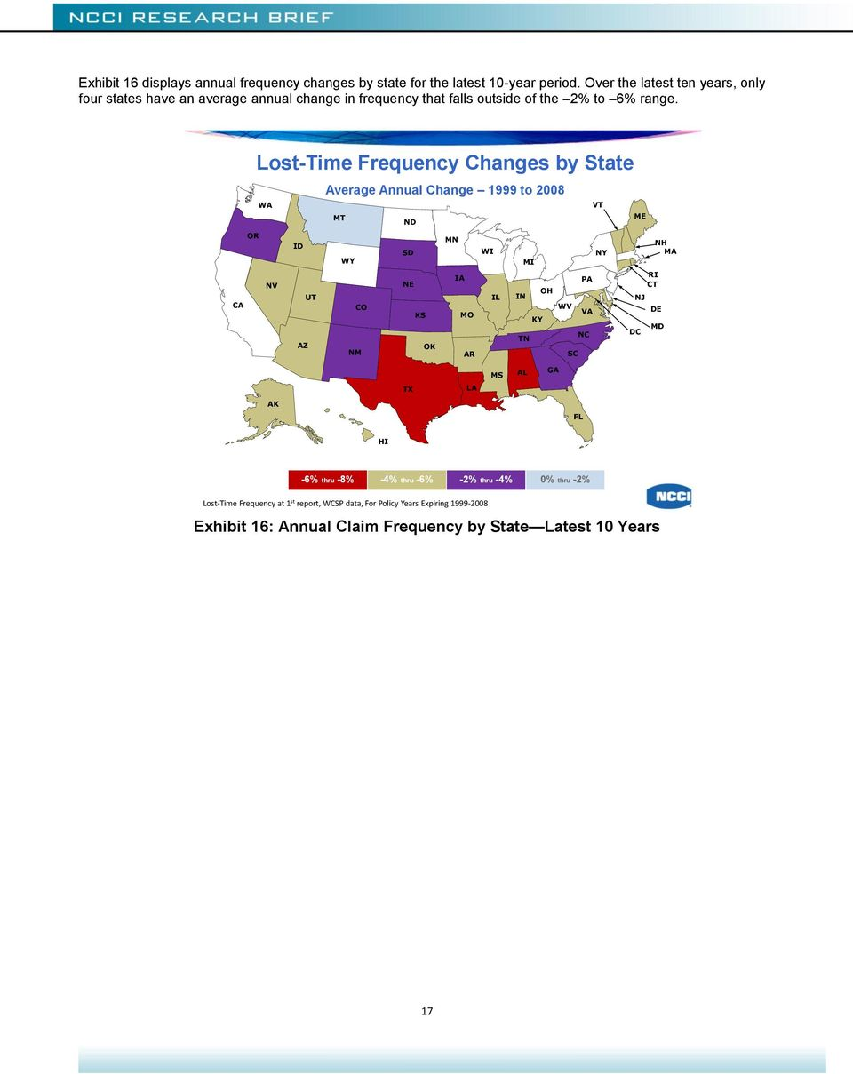 CA OR Lost-Time Frequency Changes by State WA NV ID AZ UT Average Annual Change 1999 to 2008 MT WY CO NM ND SD NE KS OK MN IA MO AR WI IL IN MI TN KY OH WV SC