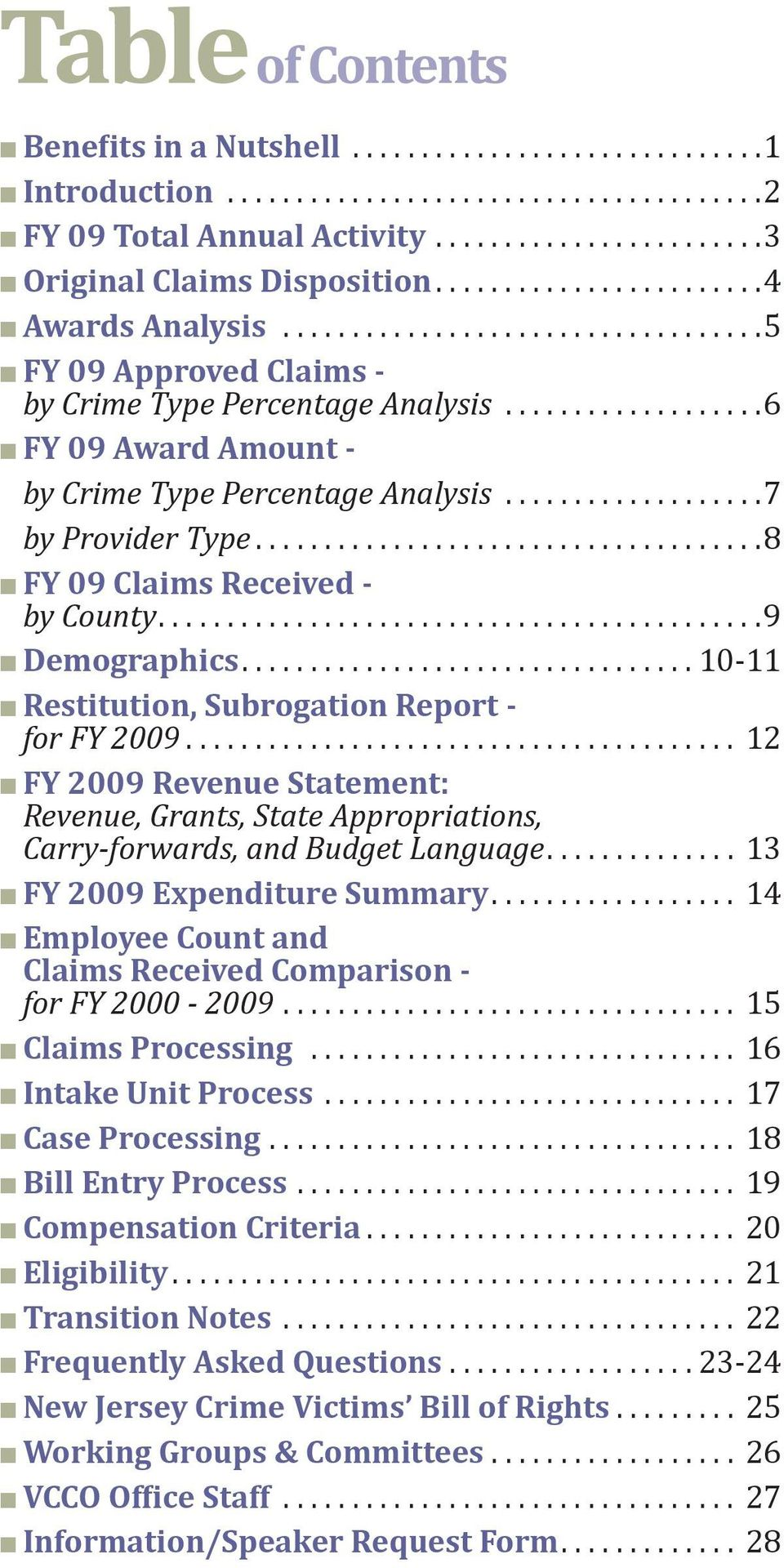 .. 10-11 Restitution, Subrogation Report - for FY 2009... 12 FY 2009 Revenue Statement: Revenue, Grants, State Appropriations, Carry-forwards, and Budget Language... 13 FY 2009 Expenditure Summary.