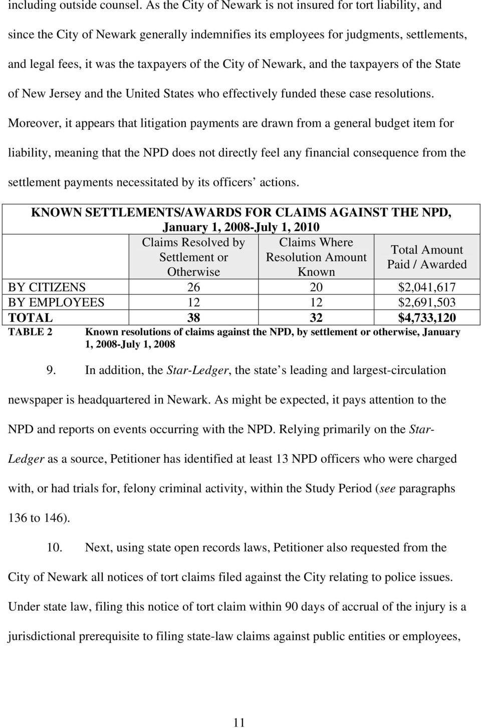 of Newark, and the taxpayers of the State of New Jersey and the United States who effectively funded these case resolutions.