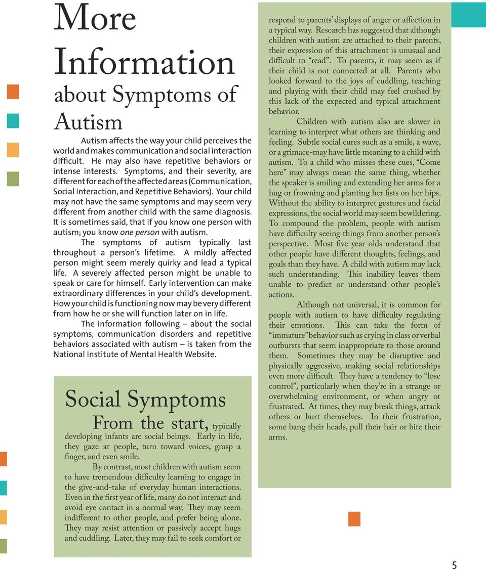 Your child may not have the same symptoms and may seem very different from another child with the same diagnosis.