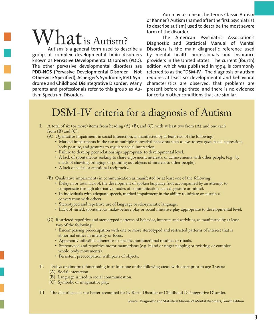 Many parents and professionals refer to this group as Autism Spectrum Disorders.