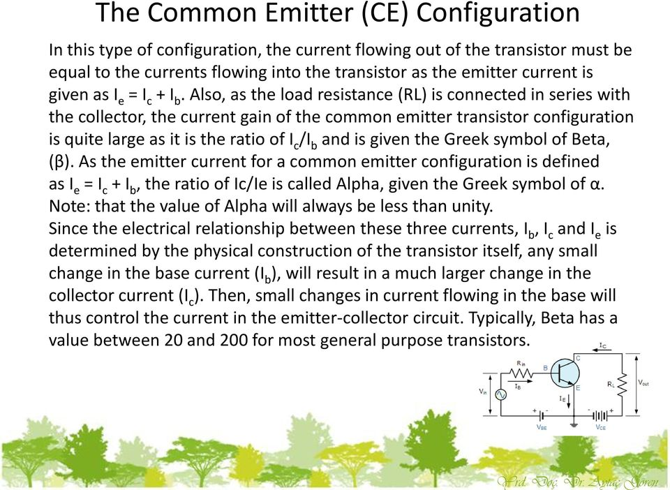 Also, as the load resistance (RL) is connected in series with the collector, the current gain of the common emitter transistor configuration is quite large as it is the ratio of I c /I b and is given