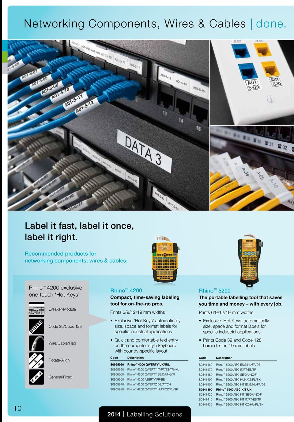 Prints 6/9/12/19 mm widths Rhino 5200 The portable labelling tool that saves you time and money with every job.