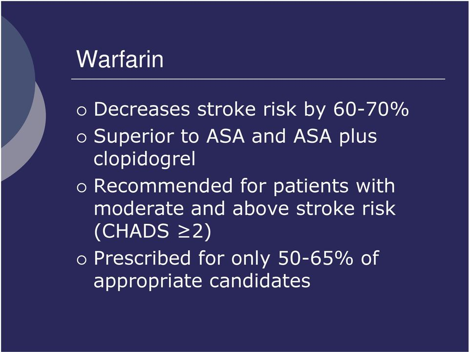 patients with moderate and above stroke risk (CHADS