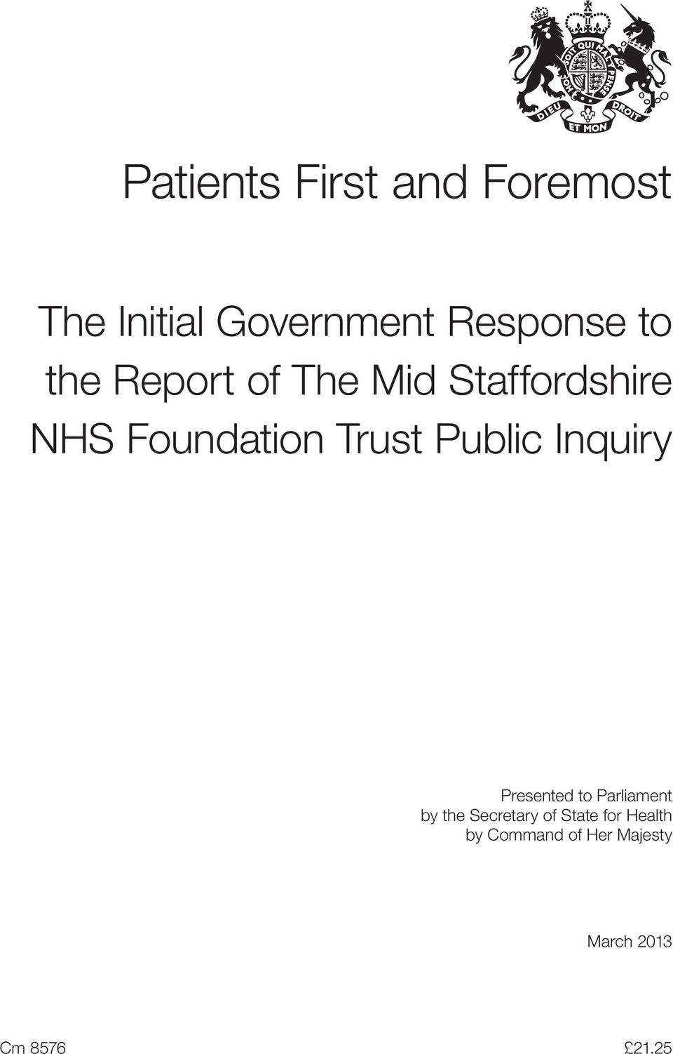 Public Inquiry Presented to Parliament by the Secretary of
