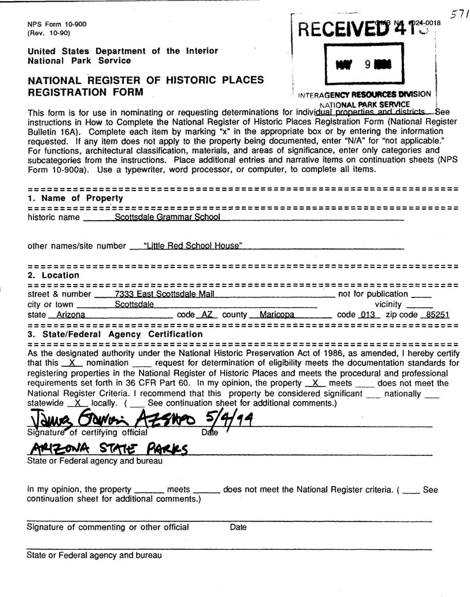 "Register of Historic Places Registration Form (National Register Bulletin 16A). Complete each item by marking ""x"" in the appropriate box or by entering the information requested."