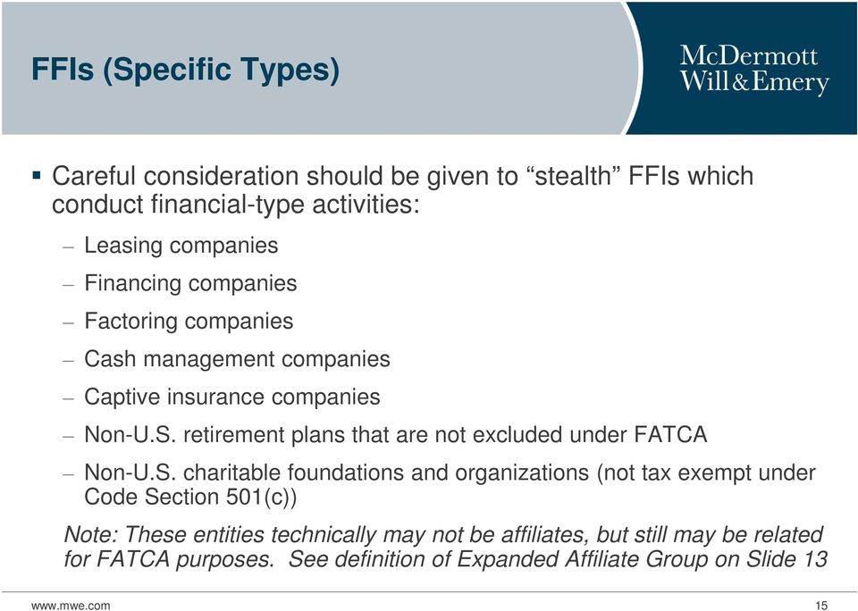 retirement plans that are not excluded under FATCA Non-U.S.