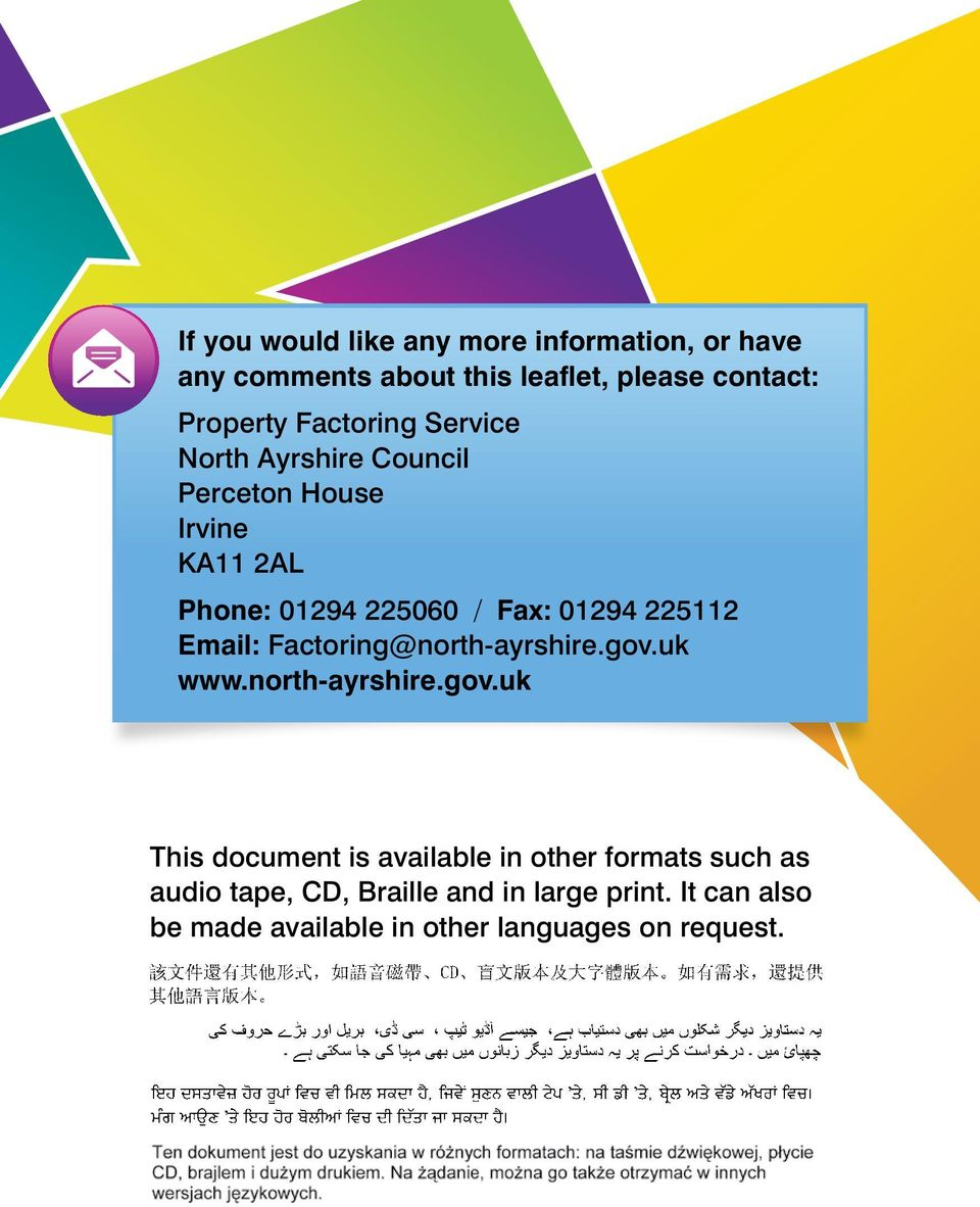 225112 Email: Factoring@north-ayrshire.gov.