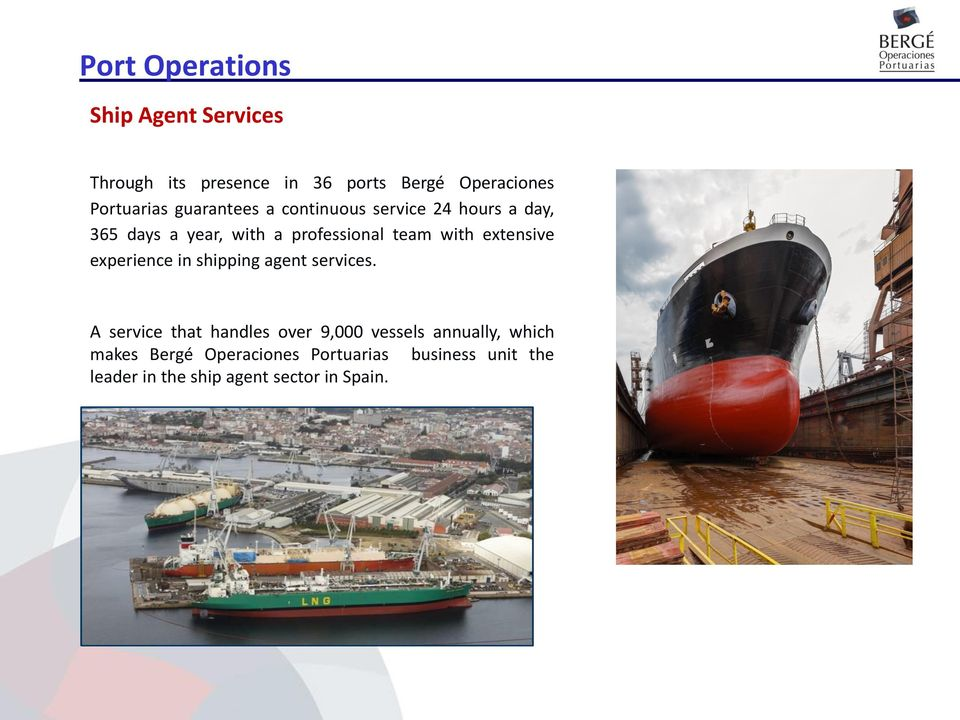 experience in shipping agent services.