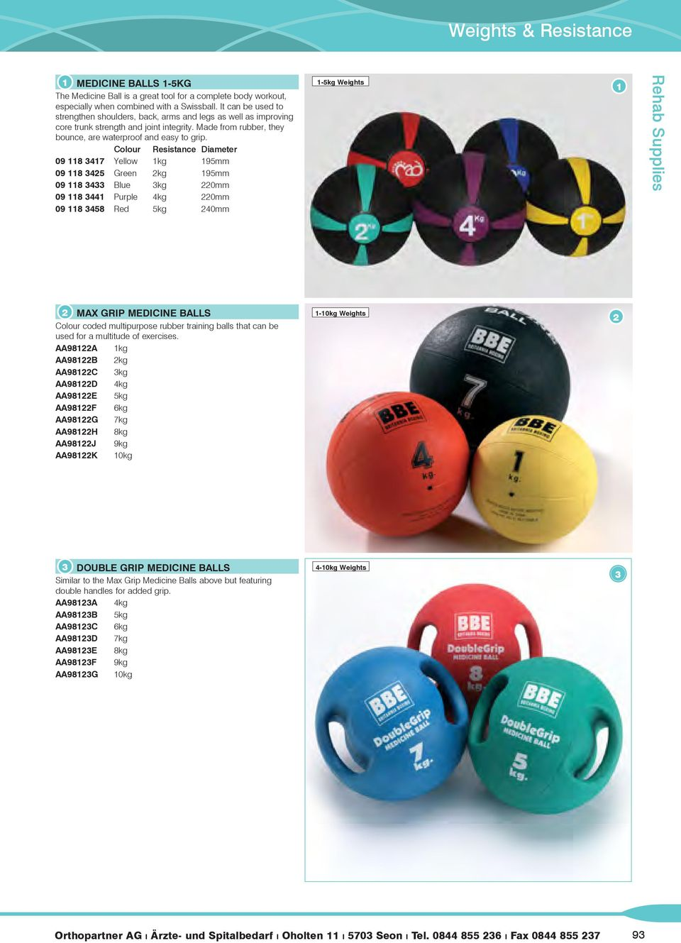 Colour Resistance Diameter 09 8 7 Yellow kg 95mm 09 8 5 Green kg 95mm 09 8 Blue kg 0mm 09 8 Purple kg 0mm 09 8 58 Red 5kg 0mm -5kg Weights MAX GRIP MEDICINE BALLS Colour coded multipurpose rubber