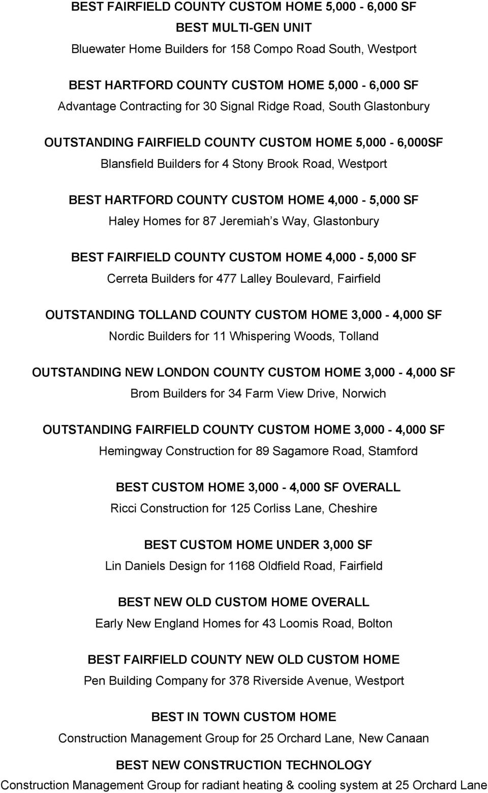 Haley Homes for 87 Jeremiah s Way, Glastonbury BEST FAIRFIELD COUNTY CUSTOM HOME 4,000-5,000 SF Cerreta Builders for 477 Lalley Boulevard, Fairfield OUTSTANDING TOLLAND COUNTY CUSTOM HOME 3,000-4,000