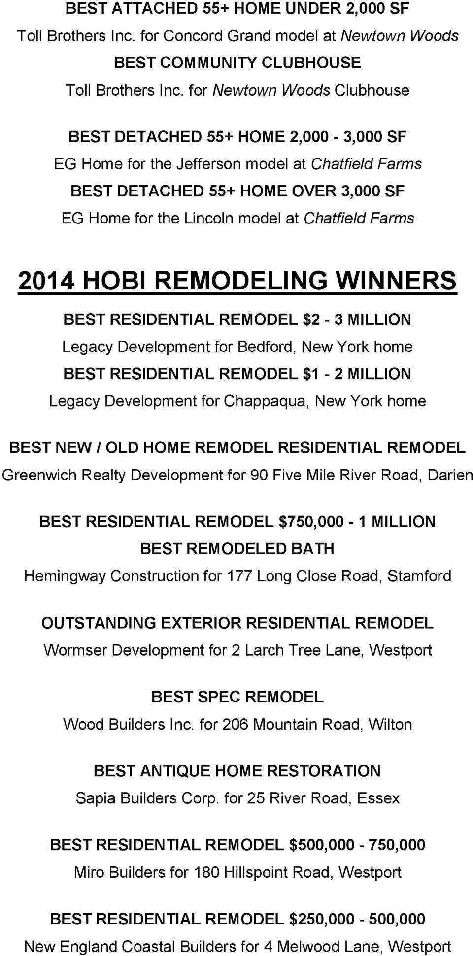 Farms 2014 HOBI REMODELING WINNERS BEST RESIDENTIAL REMODEL $2-3 MILLION Legacy Development for Bedford, New York home BEST RESIDENTIAL REMODEL $1-2 MILLION Legacy Development for Chappaqua, New York