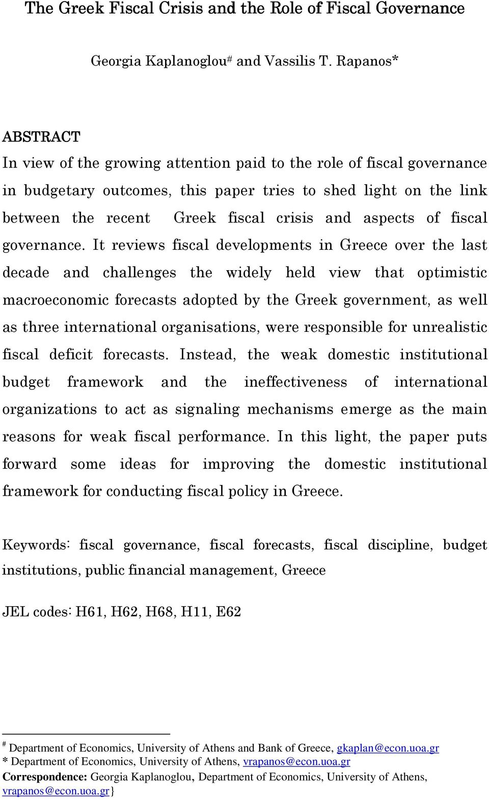 aspects of fiscal governance.