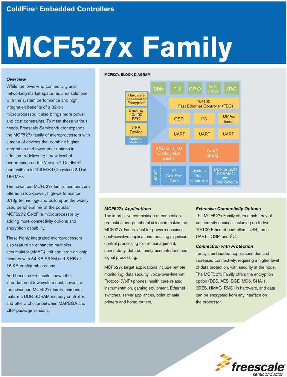 To meet those various needs, Freescale Semiconductor expands the MCF527x family of microprocessors with a menu of devices that combine higher integration and lower cost options in addition to