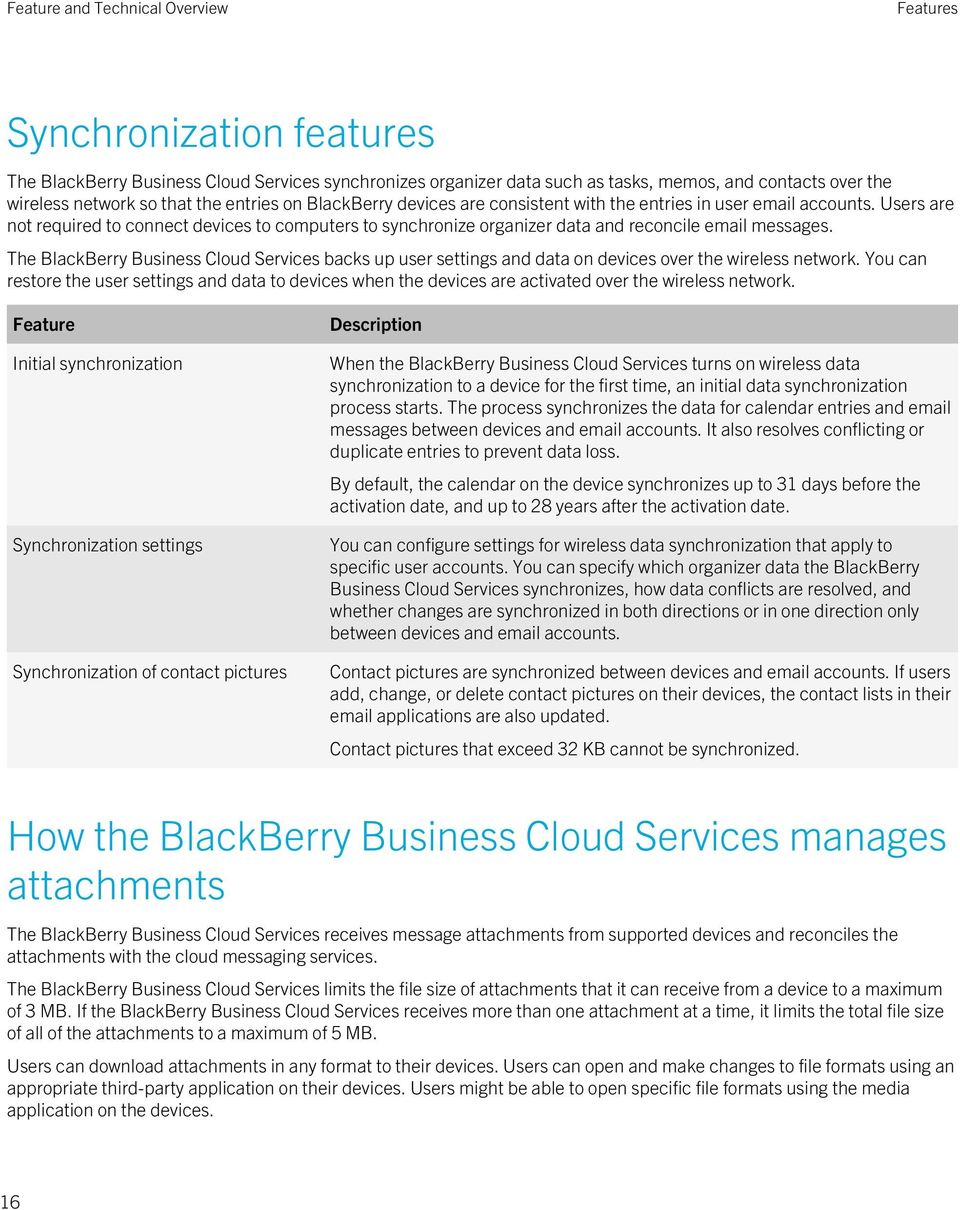 The BlackBerry Business Cloud Services backs up user settings and data on devices over the wireless network.