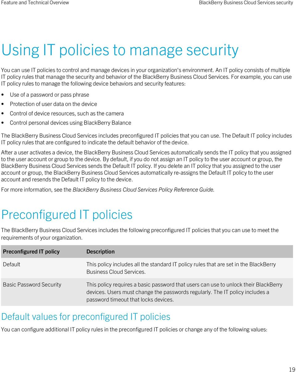 For example, you can use IT policy rules to manage the following device behaviors and security features: Use of a password or pass phrase Protection of user data on the device Control of device