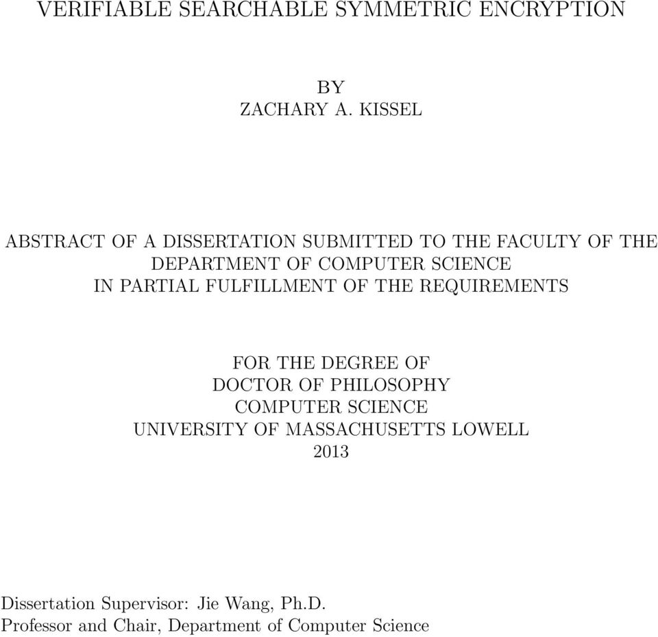 IN PARTIAL FULFILLMENT OF THE REQUIREMENTS FOR THE DEGREE OF DOCTOR OF PHILOSOPHY COMPUTER