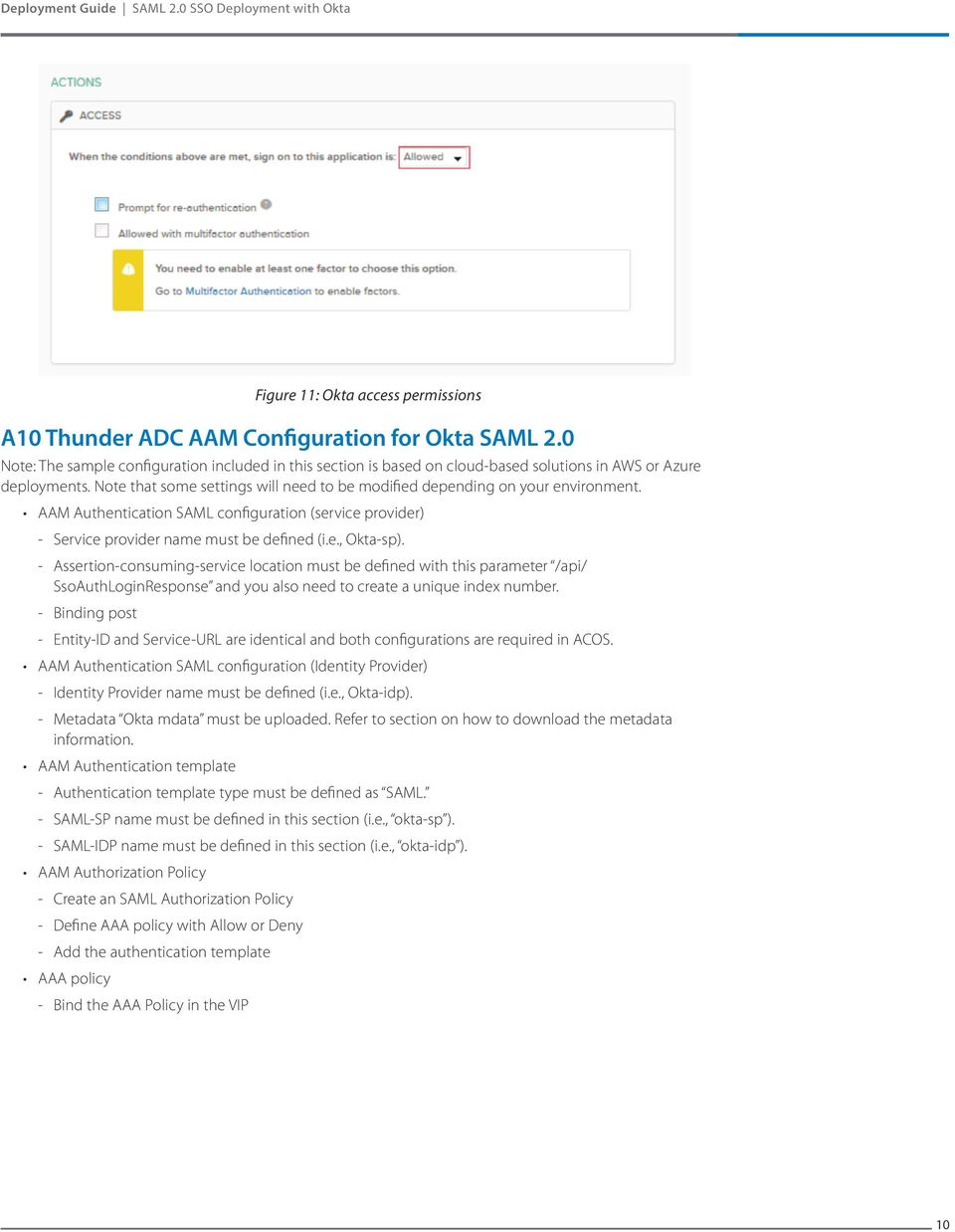 AAM Authentication SAML configuration (service provider) Service provider name must be defined (i.e., Okta-sp).