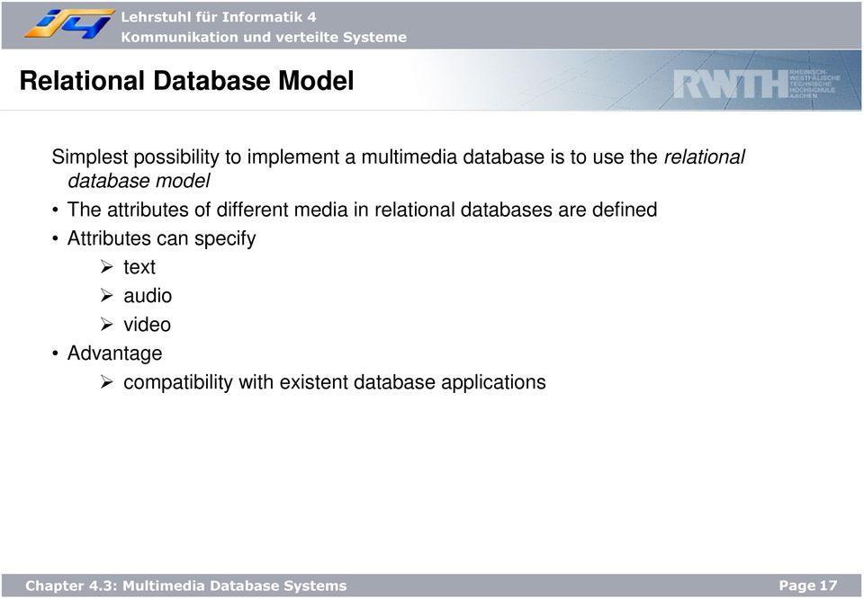 different media in relational databases are defined Attributes can specify