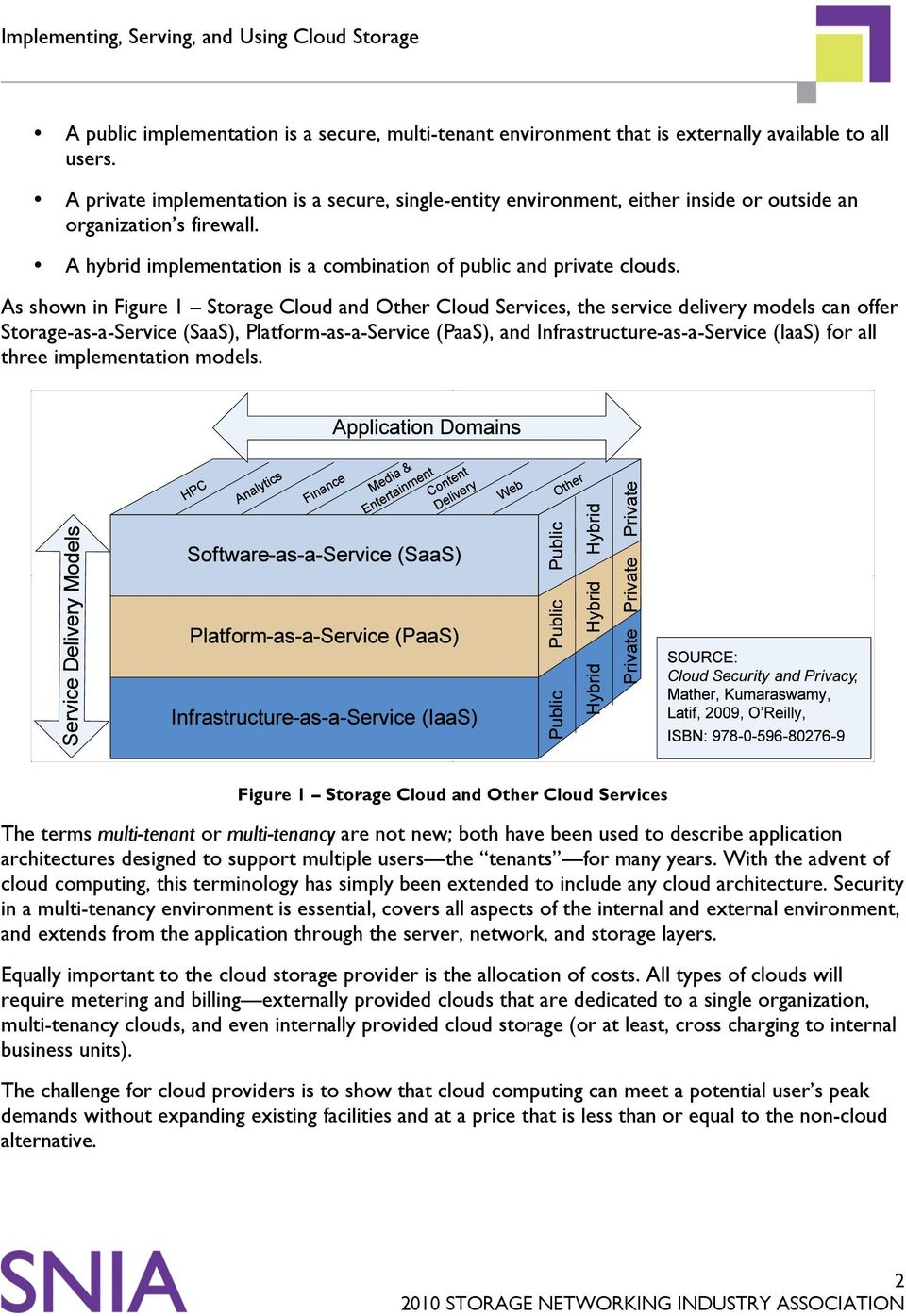 As shown in Figure 1 Storage Cloud and Other Cloud Services, the service delivery models can offer Storage-as-a-Service (SaaS), Platform-as-a-Service (PaaS), and Infrastructure-as-a-Service (IaaS)