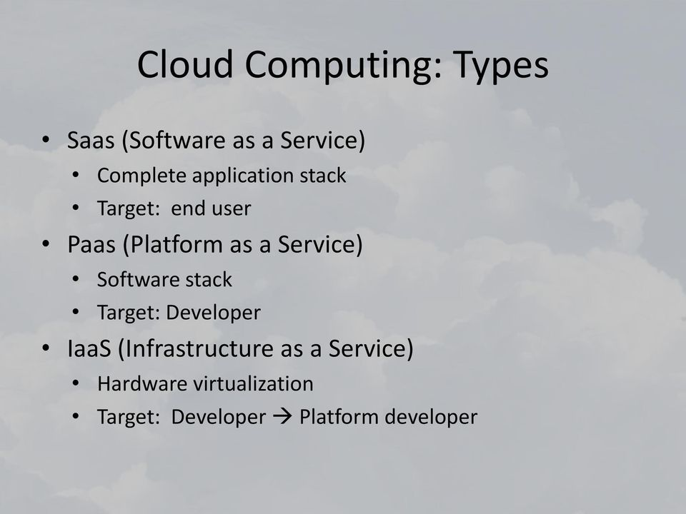 Software stack Target: Developer IaaS (Infrastructure as a