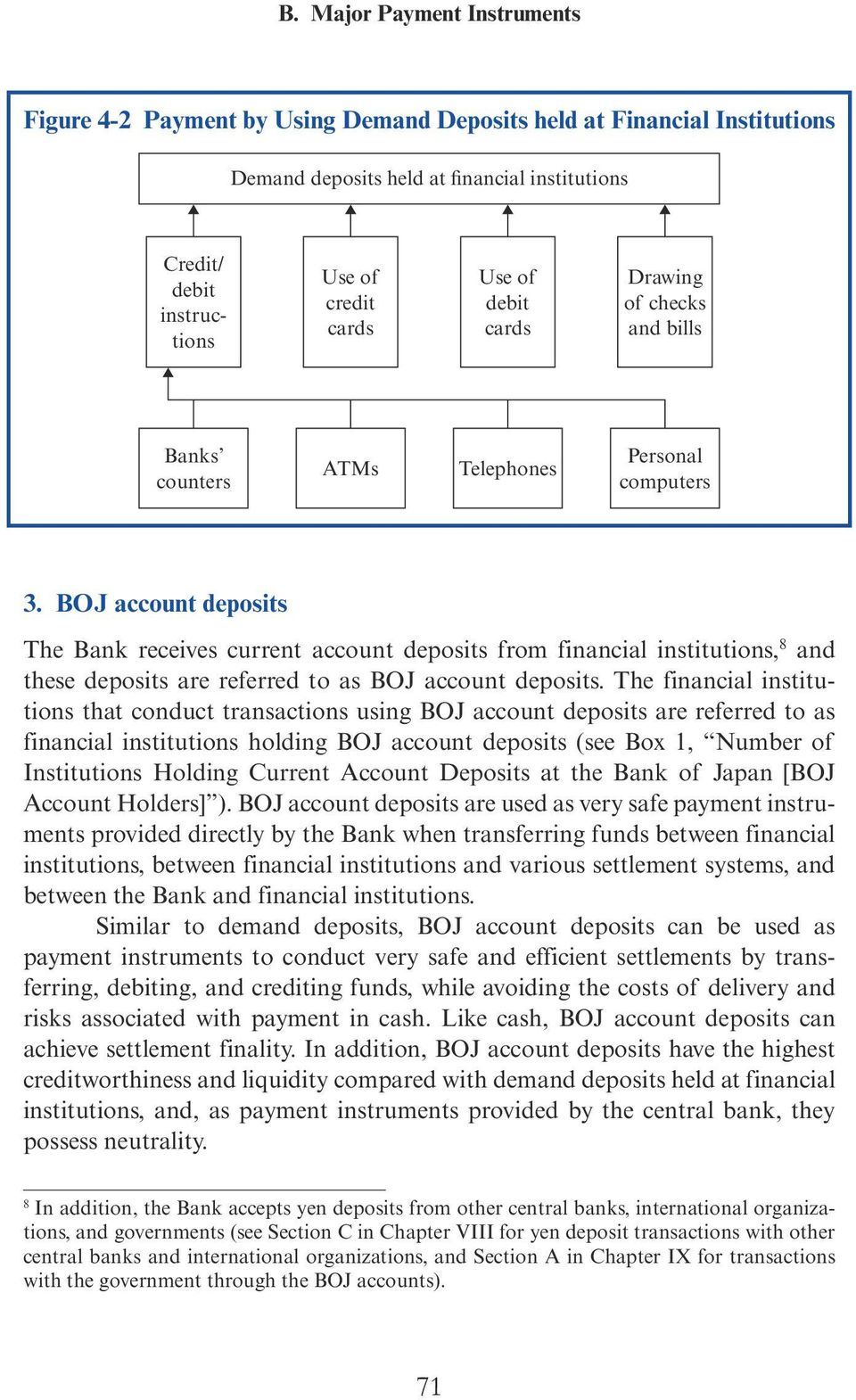 BOJ account deposits The Bank receives current account deposits from financial institutions, 8 and these deposits are referred to as BOJ account deposits.