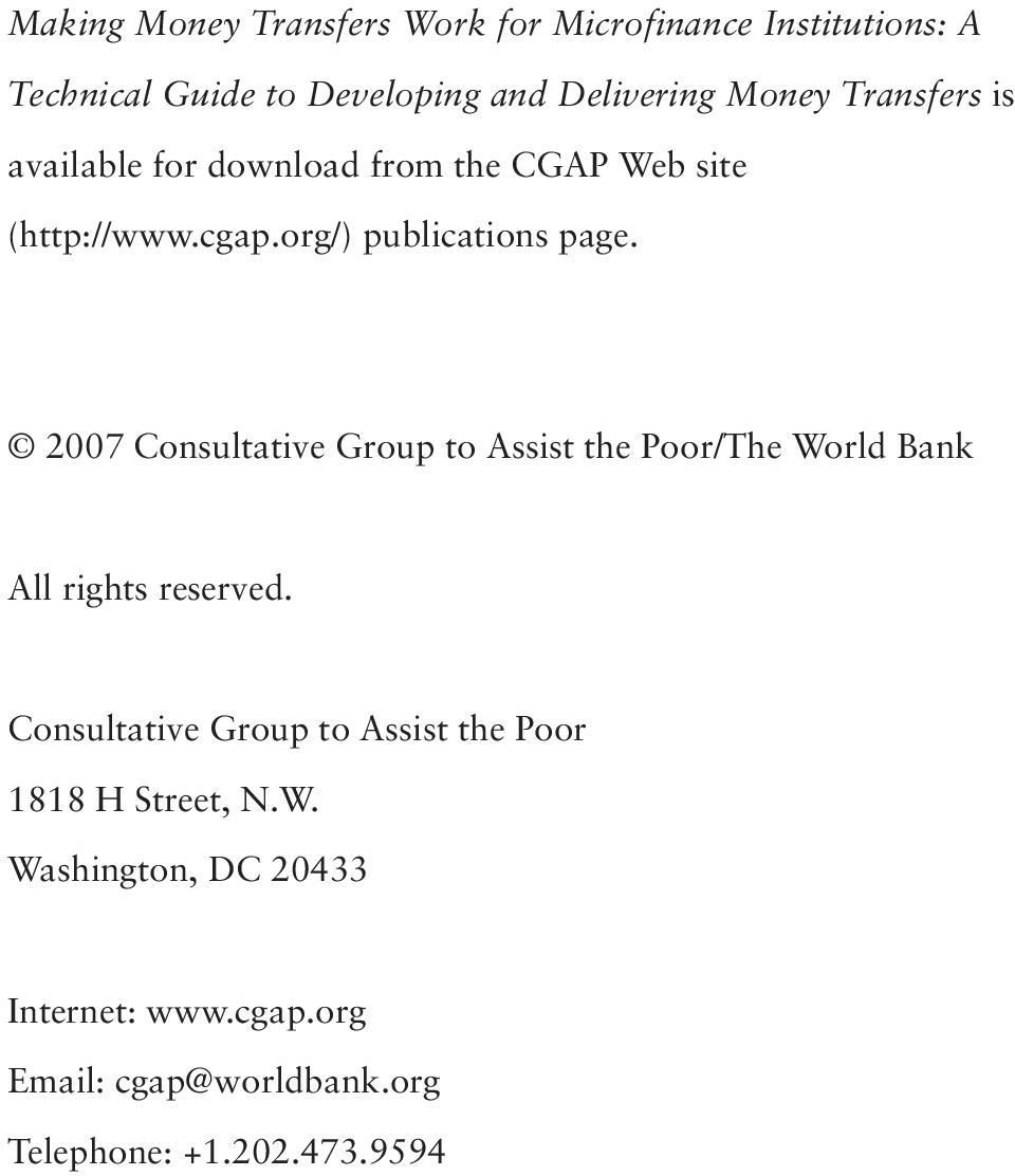 2007 Consultative Group to Assist the Poor/The World Bank All rights reserved.