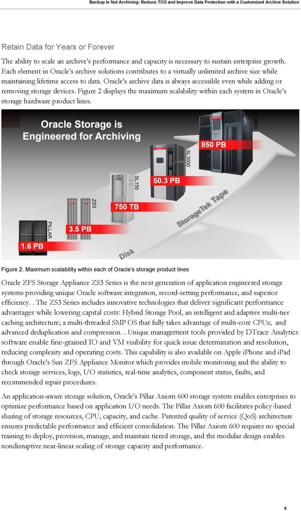 Oracle s archive data is always accessible even while adding or removing storage devices. Figure 2 displays the maximum scalability within each system in Oracle s storage hardware product lines.