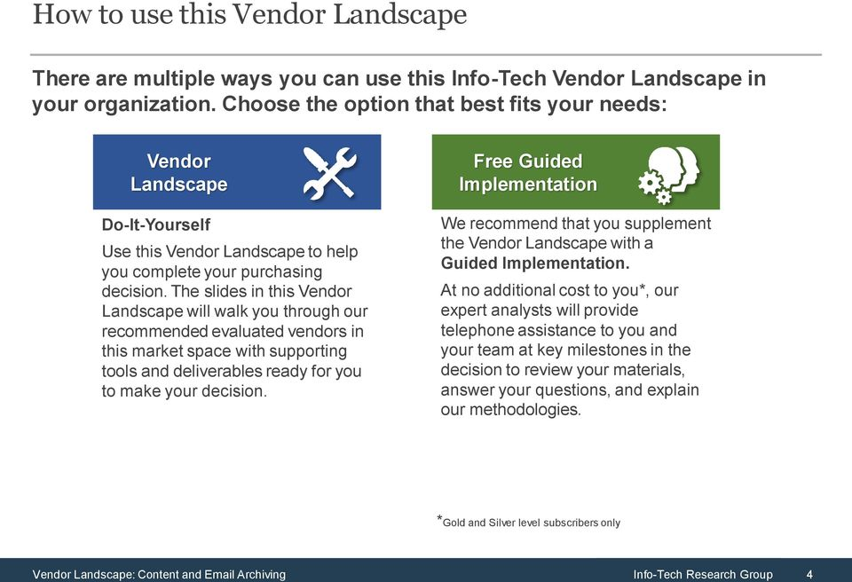 The slides in this Vendor Landscape will walk you through our recommended evaluated vendors in this market space with supporting and deliverables ready for you to make your decision.