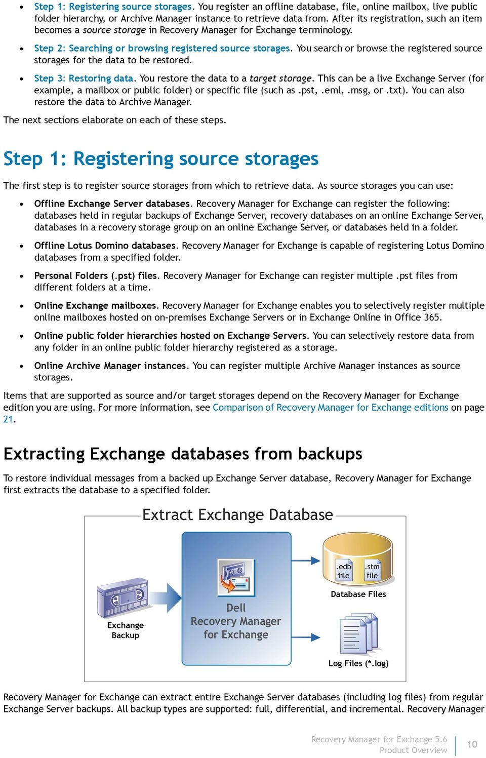You search or browse the registered source storages for the data to be restored. Step 3: Restoring data. You restore the data to a target storage.