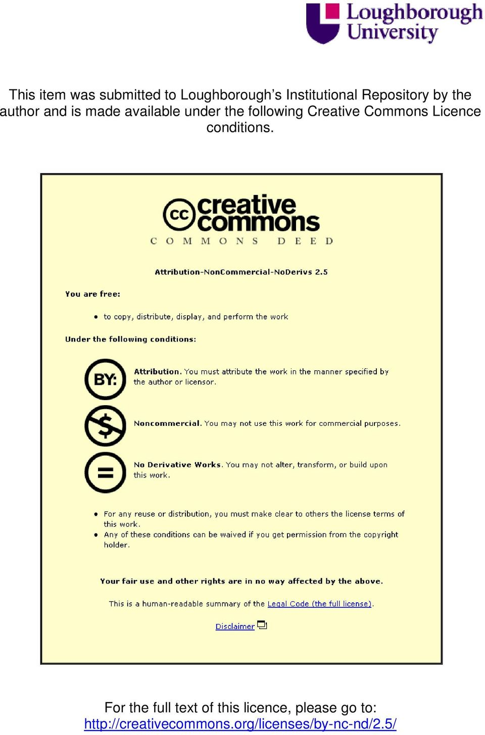 following Creative Commons Licence conditions.