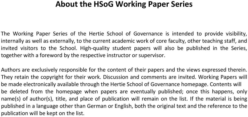High quality student papers will also be published in the Series, together with a foreword by the respective instructor or supervisor.