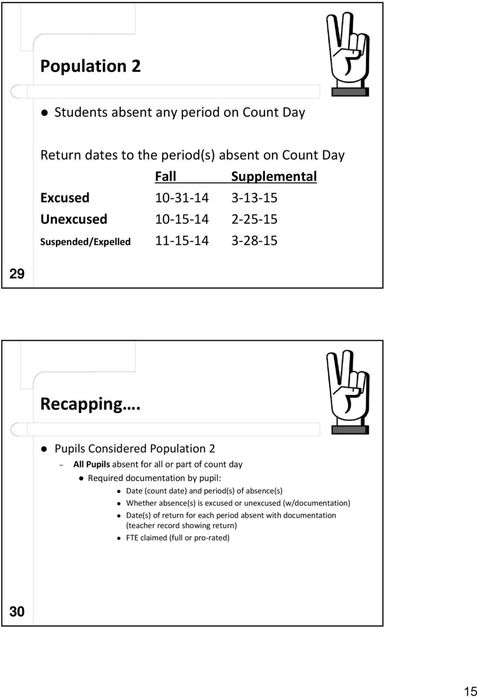 Pupils Considered Population 2 All Pupils absent for all or part of count day Required documentation by pupil: Date (count date) and period(s)