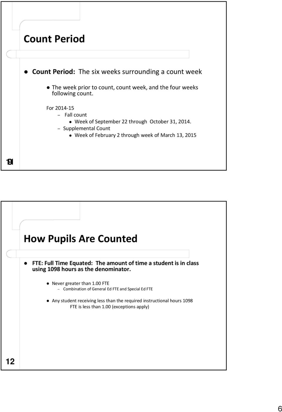 Supplemental Count Week of February 2 through week of March 13, 2015 11 9 How Pupils Are Counted FTE: Full Time Equated: The amount of time a student