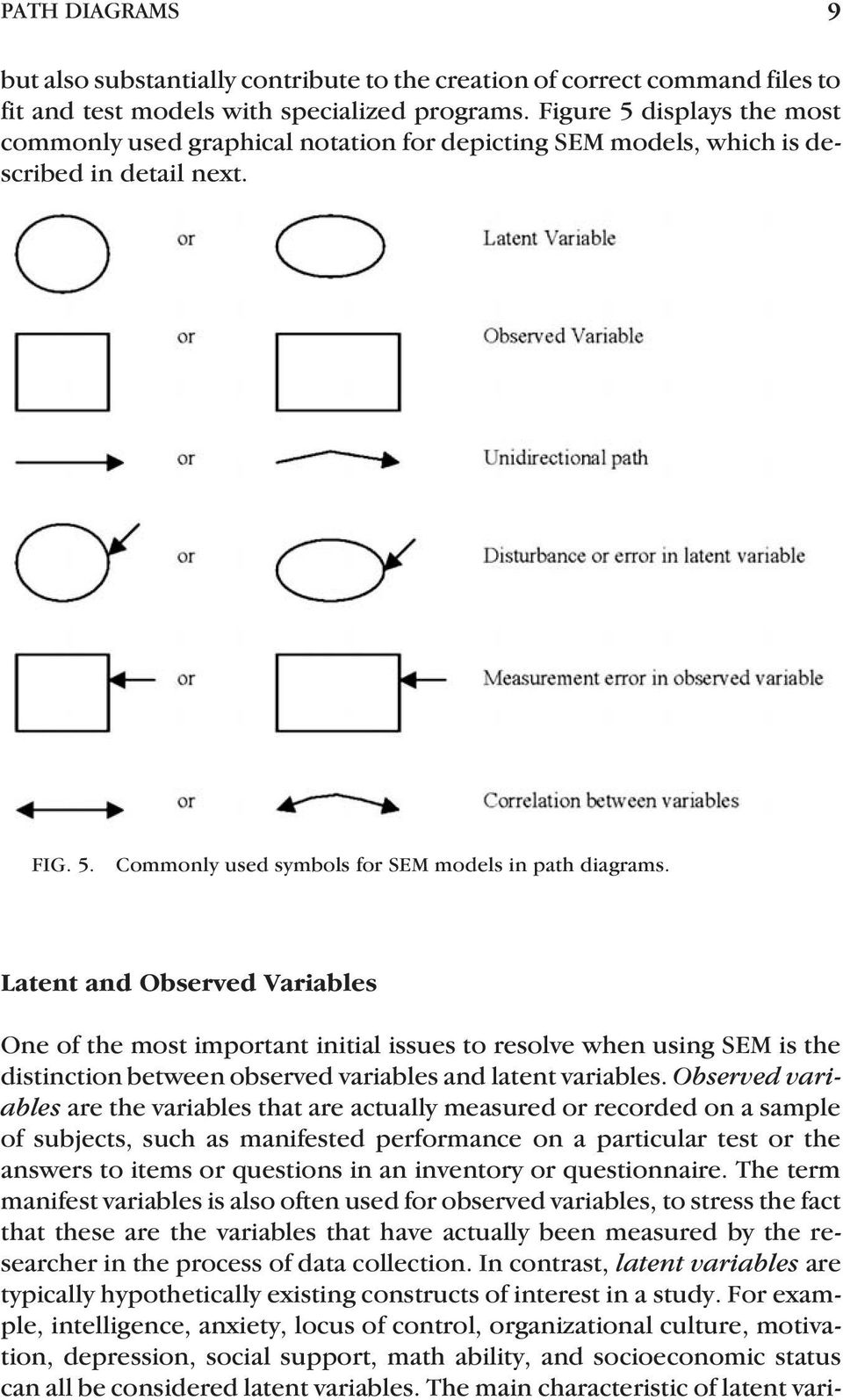 Latent and Observed Variables One of the most important initial issues to resolve when using SEM is the distinction between observed variables and latent variables.