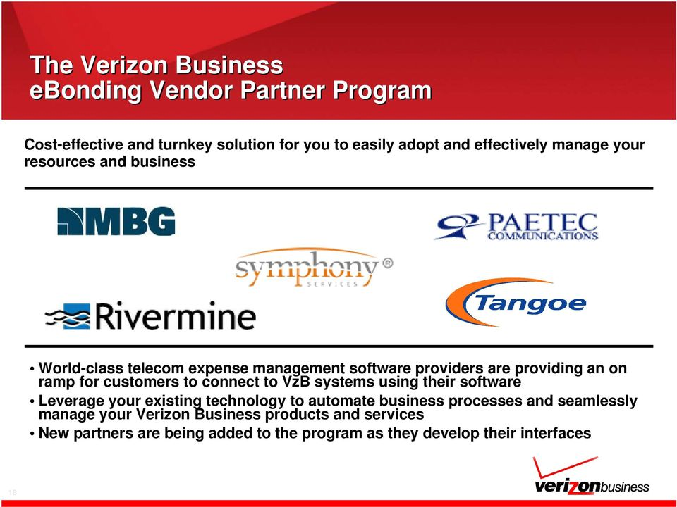 customers to connect to VzB systems using their software Leverage your existing technology to automate business processes and
