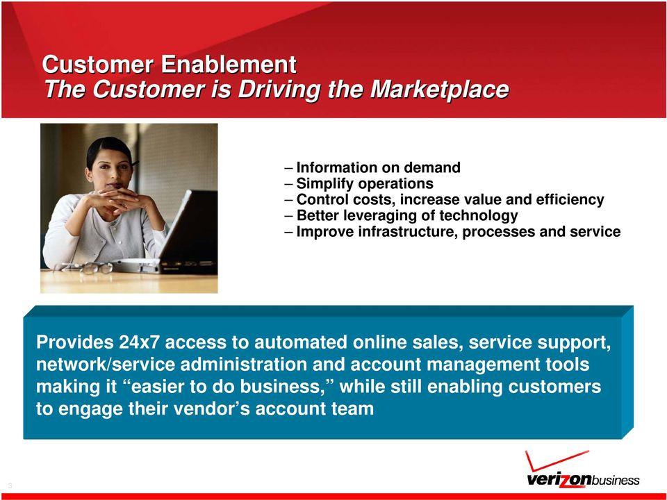service Provides 24x7 access to automated online sales, service support, network/service administration and