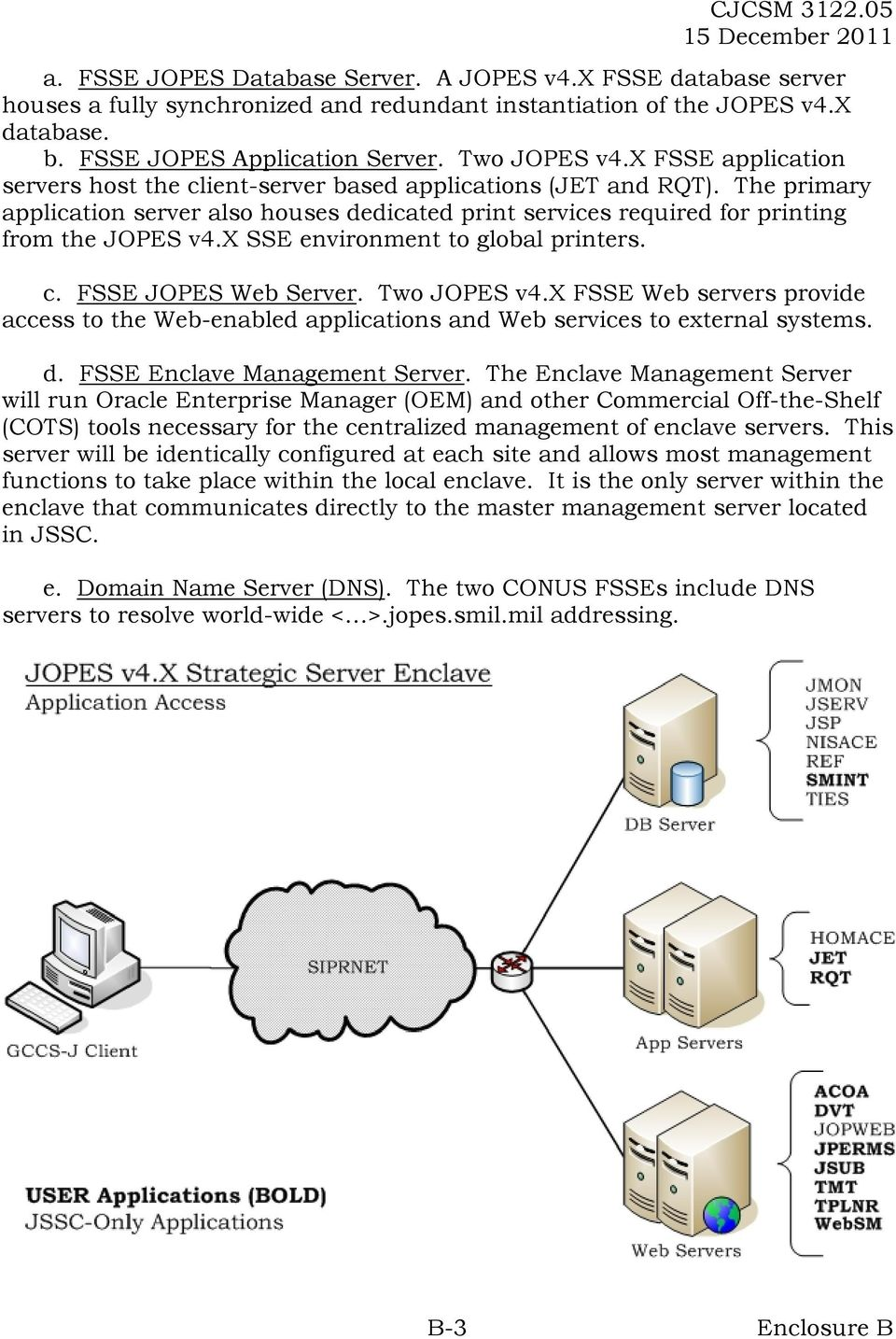 x SSE environment to global printers. c. FSSE JOPES Web Server. Two JOPES v4.x FSSE Web servers provide access to the Web-enabled applications and Web services to external systems. d.